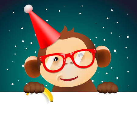 Cute funny monkey holding white page, greeting Christmas card, vector illustration.