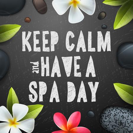 silencio: Mantener la calma tienen un día, cuidado de la salud y la belleza plantilla de Spa para el balneario, ilustración vectorial. Vectores