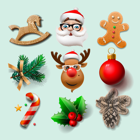 christmas objects: Christmas icons, objects, holiday decoration, vector illustration.