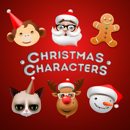 christmas characters: Christmas icons, cute Christmas characters, vector illustration.