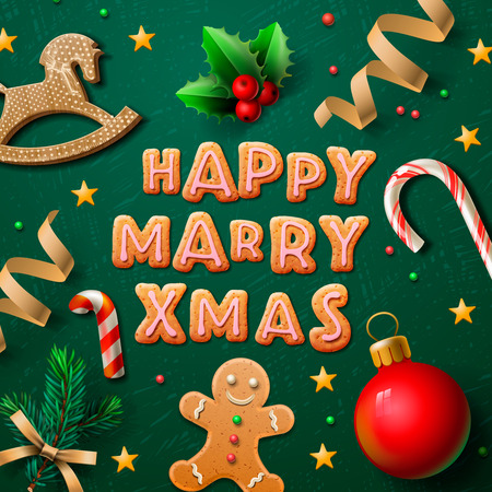 Merry Christmas greeting card with Chrirstmas decor gingerbread man, cookies, confetti, vector illustration.