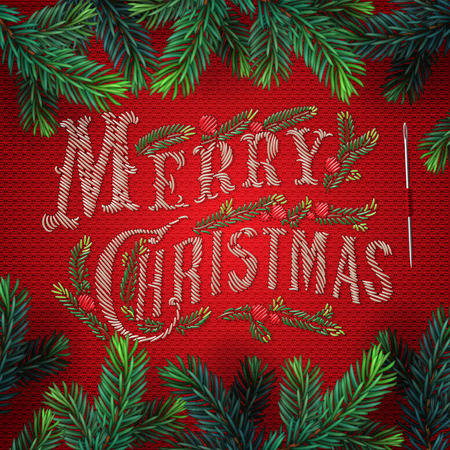 merry: Embroidered Merry Christmas card, lettering on red background, vector illustration. Illustration