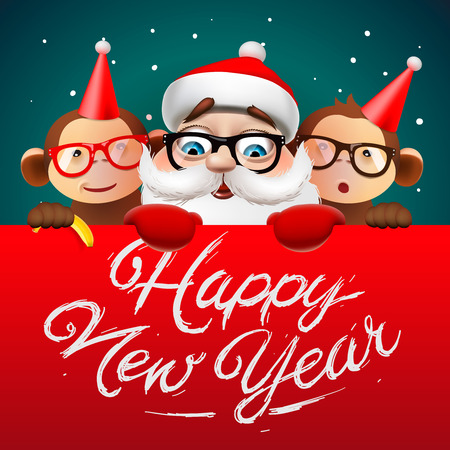 Greeting card, Happy New Year card with Santa Claus and monkeys, vector illustration. Vettoriali