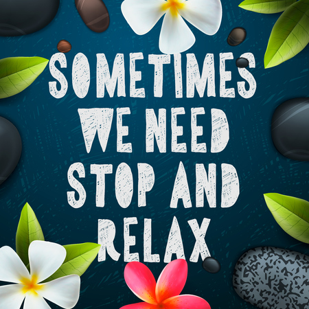 Parfois, nous avons besoin d'arrêter et de se détendre, les soins de santé et un modèle de beauté pour salon de spa, illustration vectorielle.