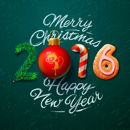 furtree: Merry Christmas and Happy New Year 2016 greeting card, vector illustration. Illustration