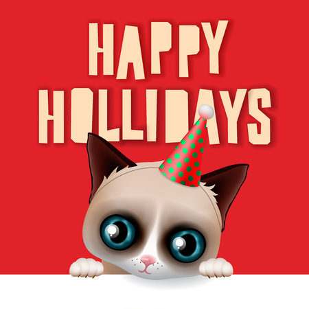 grumpy: Happy holidays card with fun grumpy cat, vector illustration. Illustration