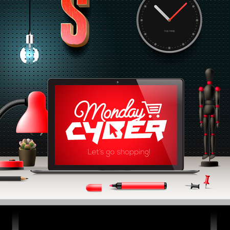 fiestas electronicas: Cyber ??Monday, compras en línea y comercialización concepto