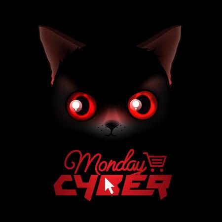 fiestas electronicas: Cyber ??Monday, compras en línea y concepto de marketing, ilustración vectorial. Vectores