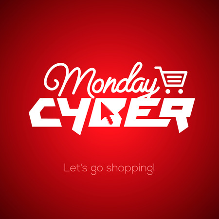Cyber Monday, online shopping and marketing concept, vector illustration. Illustration