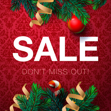sales: Christmas sale bakcground, promotional poster for Christmas sale, vector illustration.