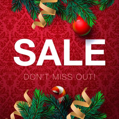 Christmas sale bakcground, promotional poster for Christmas sale, vector illustration.