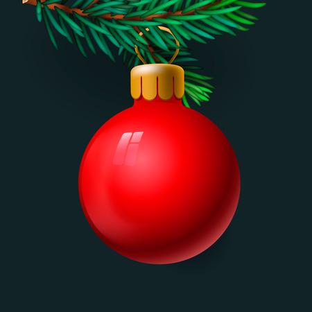 fir twig: Red Christmas ball on the fir twig, vector illustration.