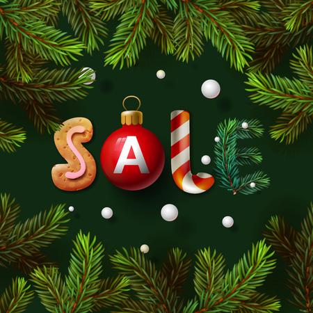 christmas sale: Christmas sale background, promotional poster for Christmas sale, vector illustration.