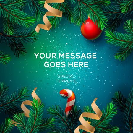Chrirstmas 装飾のモミの小枝や紙吹雪、ベクトル図でメリー クリスマスのグリーティング カード。