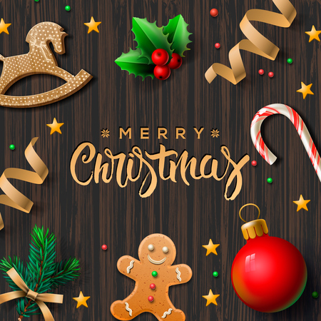 Merry Christmas greeting card with Chrirstmas decor gingerbread man, cookies, candy, vector illustration. Vettoriali