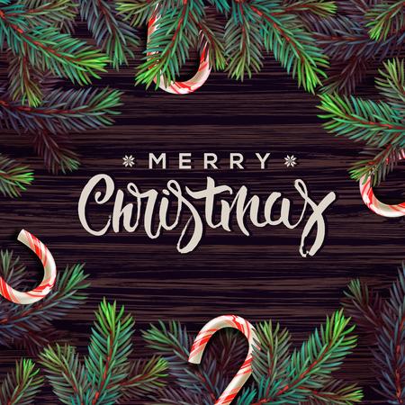 christmas decor: Merry Christmas greeting card with Chrirstmas decor Illustration