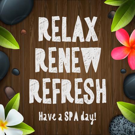 Journée de Spa, soins de santé et de beauté modèle de salon de spa, illustration vectorielle.