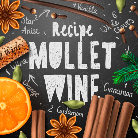 christmas drink: Christmas drink mulled wine recipe of drink and ingredients Illustration
