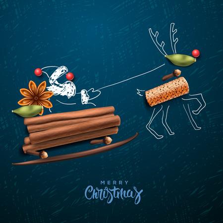 joyeux noel: Père Noël volant dans un traîneau