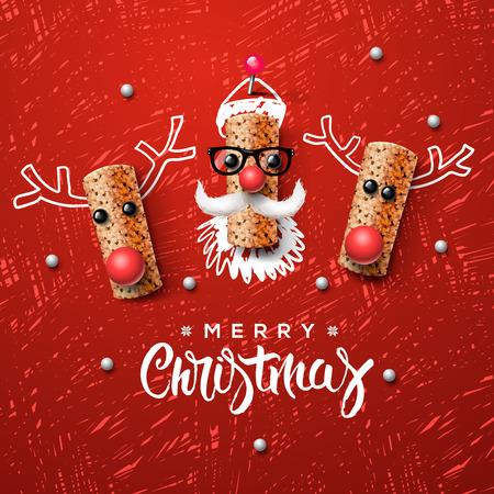 tomando alcohol: Papá Noel y reno hechas de madera de corcho Vectores