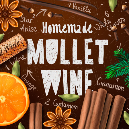 christmas drink: Christmas drink mulled wine homemade of drink and ingredients