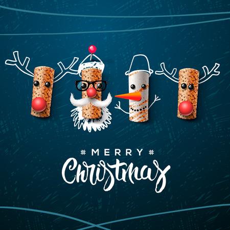 renna: Babbo Natale pupazzo di neve e renne realizzati in sughero del vino