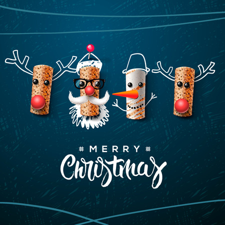 cartoon present: Santa Claus snowman and reindeer made from wine cork Illustration