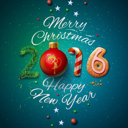 메리 크리스마스, 해피 뉴 2016 인사말 카드 일러스트