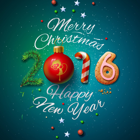 december: Merry Christmas and Happy New Year 2016 greeting card