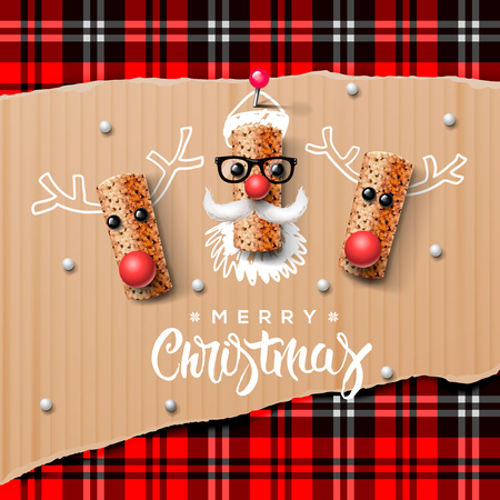 retro cartoon: Christmas characters Santa Claus and reindeer made from wine cork Illustration