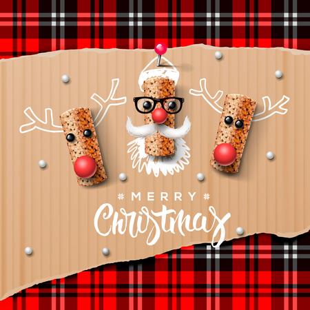 papa noel: Personajes de Navidad Papá Noel y reno hechas de corcho del vino Vectores