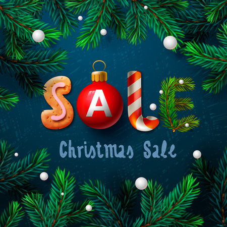 red label: Christmas sale background promotional poster for Christmas sale