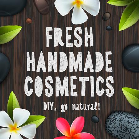 cosmeticos: hechos a mano fresca cosméticos orgánicos ingredientes herbarios y naturales Vectores