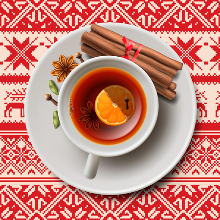 christmas tea: Christmas tea with spices aromatic mulled wine Illustration