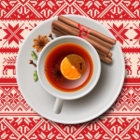 Weihnachten Tee mit Gewürzen aromatischen Glühwein