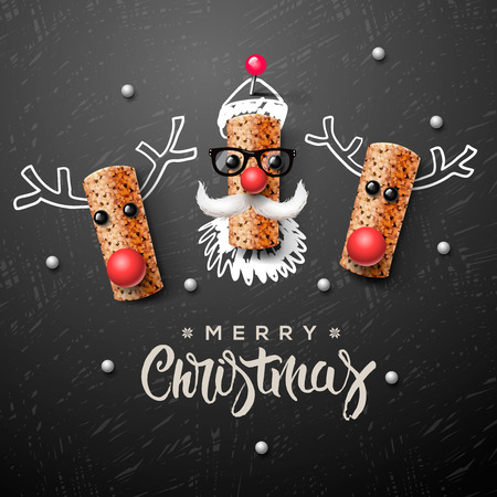 Santa Claus and reindeer made from wine cork Illustration