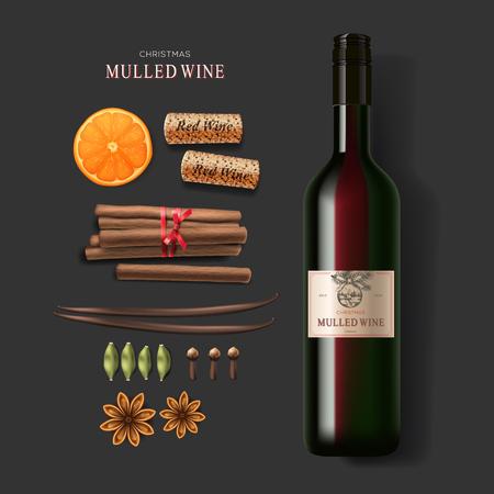 vino: Copa de Navidad reflexionó botella de vino de vino y los ingredientes Vectores