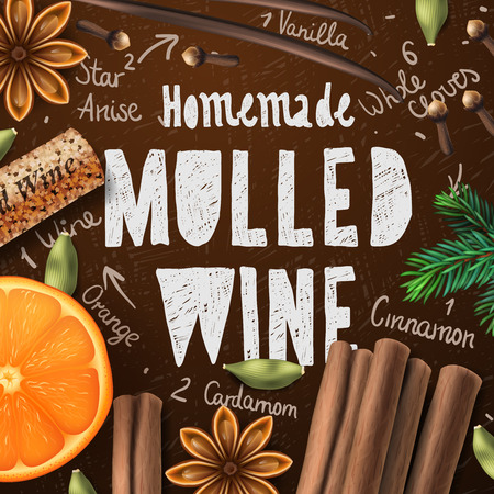 fragrance: Christmas drink mulled wine homemade of drink and ingredients