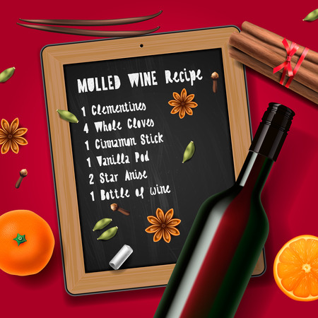 mulled: Christmas drink mulled wine bottle of wine and recipe