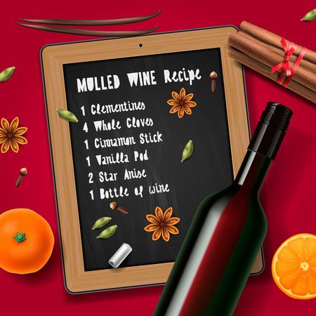 Weihnachtsgetränk Glühwein Flasche Wein und Rezept Vektorgrafik