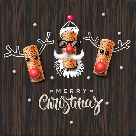 크리스마스 문자 산타 클로스와 순록 와인 코르크로 만든 일러스트