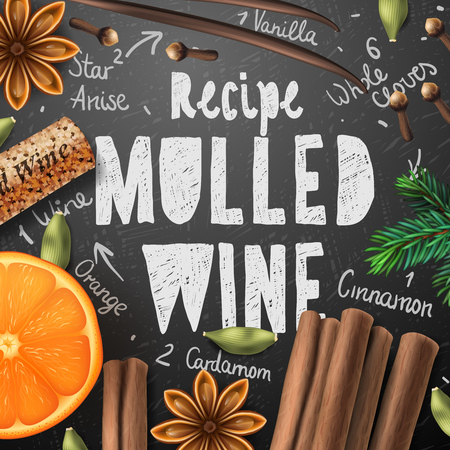 Christmas drink mulled wine recipe of drink and ingredients Illustration