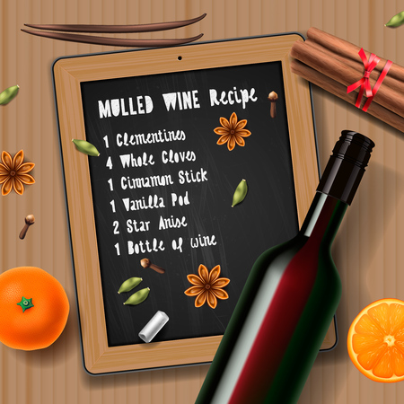 christmas drink: Christmas drink mulled wine bottle of wine and recipe
