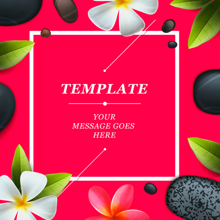spa salon: Health and beauty frame template, concept for spa salon, vector illustration.