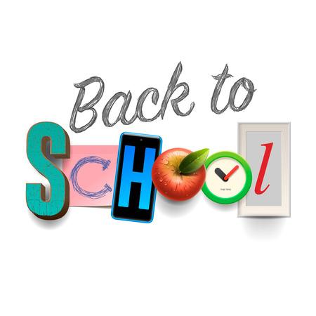 fournitures scolaires: Retour au fond de l'école avec des fournitures scolaires, collage design art artisanal, illustration vectorielle.