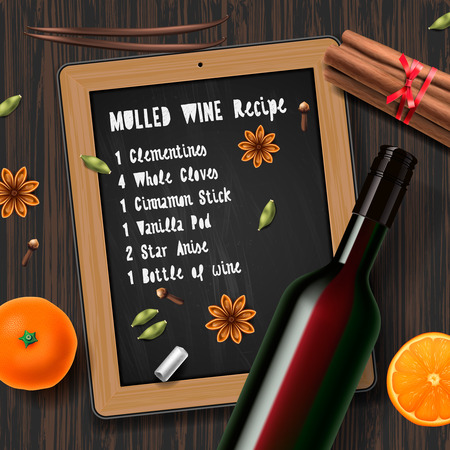 anise: Christmas drink mulled wine, bottle of wine and recipe, vector illustration. Illustration