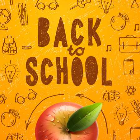 red apple: Welcome back to school sale background with red apple, vector illustration.