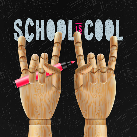 first day of school: School is cool, education poster, vector illustration.