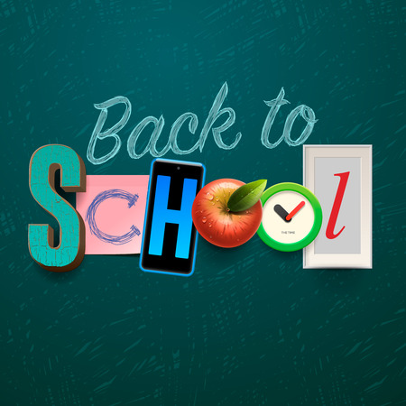 first day: Back to school background with school supplies, collage art craft design, vector illustration. Illustration