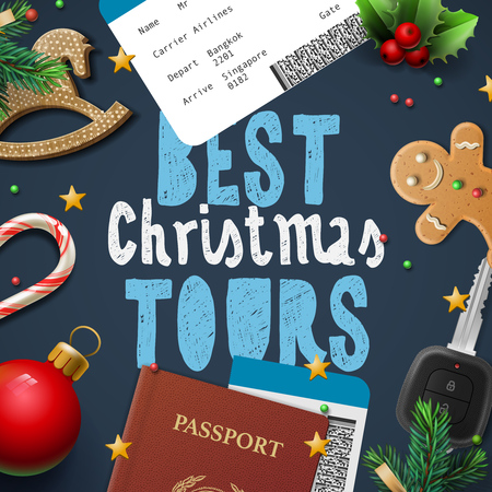 christmas winter: Christmas and New Year, winter vacations travel, holidays, tours, vector illustration.